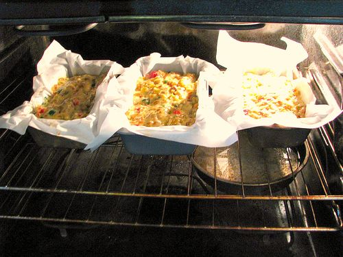 Fruitcake in oven