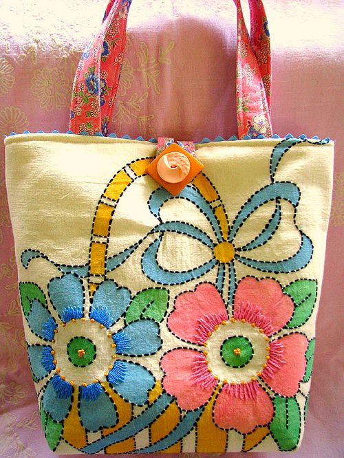 Embroidered Flower tote 1